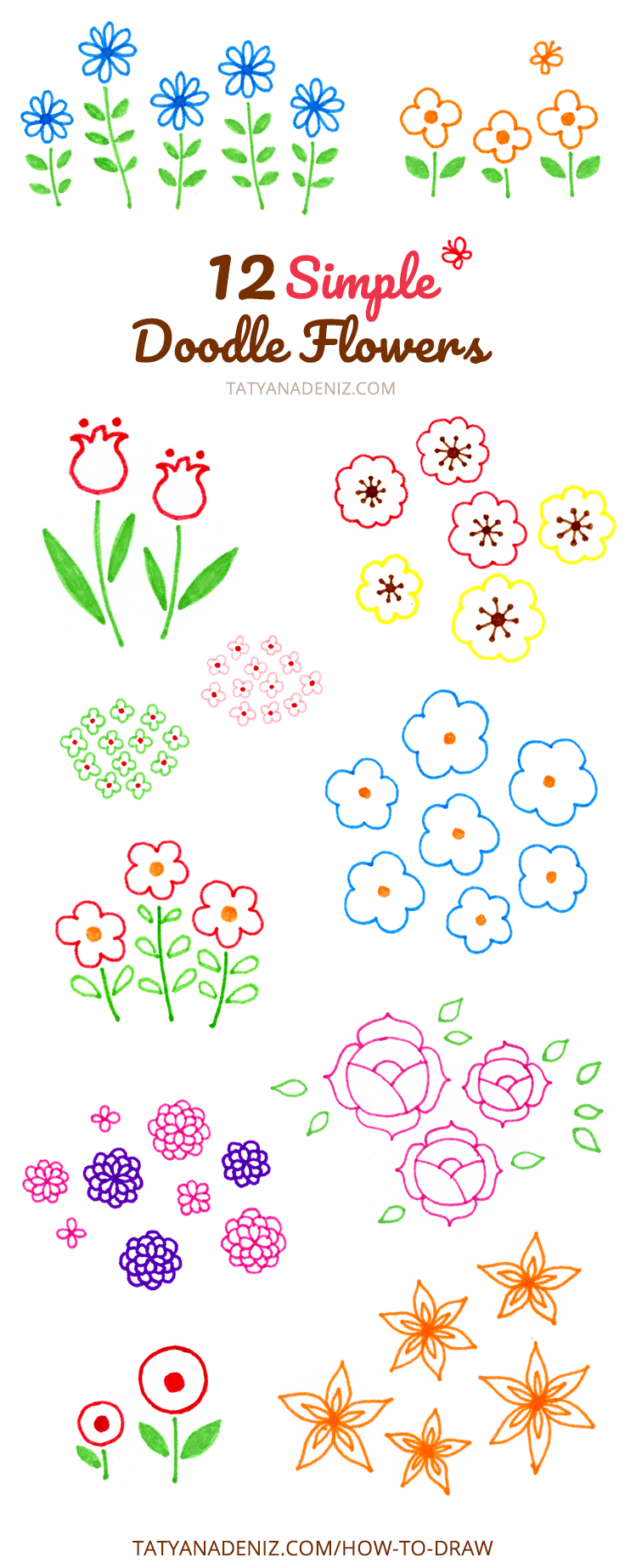 How to draw 12 simple doodle flowers with felt tip pens