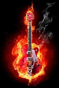 Guitar Flames Wall Art Canvas Giclee Print – Highest Quality Canvas Den Prints – Not stretched or framed
