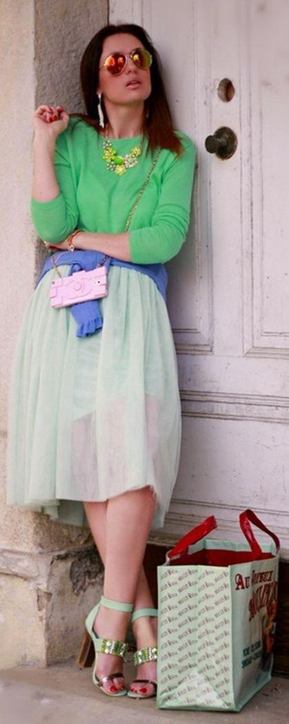 Sammy Dress Mint Chiffon Skirt