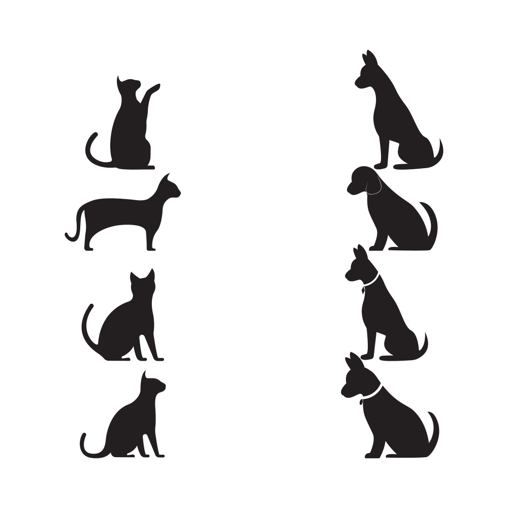Cat Dog Vector Silhouettes Logo Template