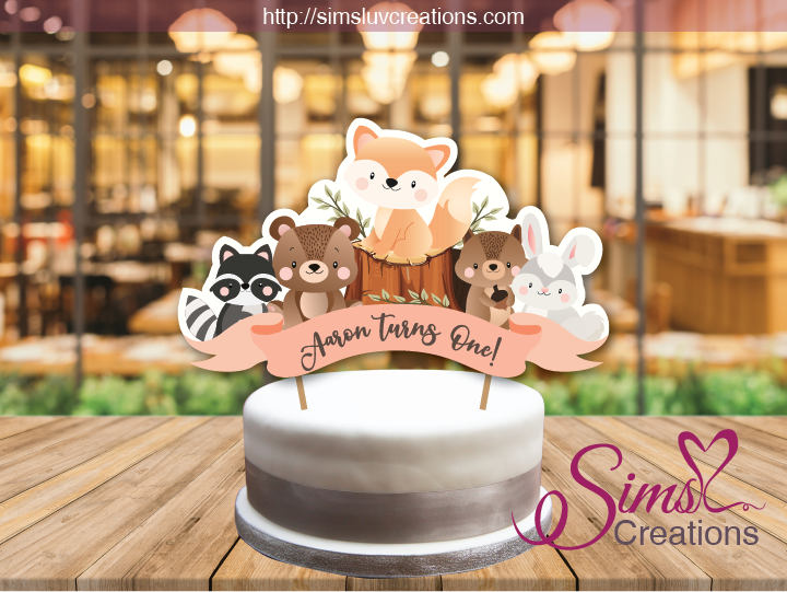 Woodlands Animals Cake Topper Cake Centerpiece Cake Decorations Personalised Cupcake Toppers Woodland Theme Cake Animal Cake Topper