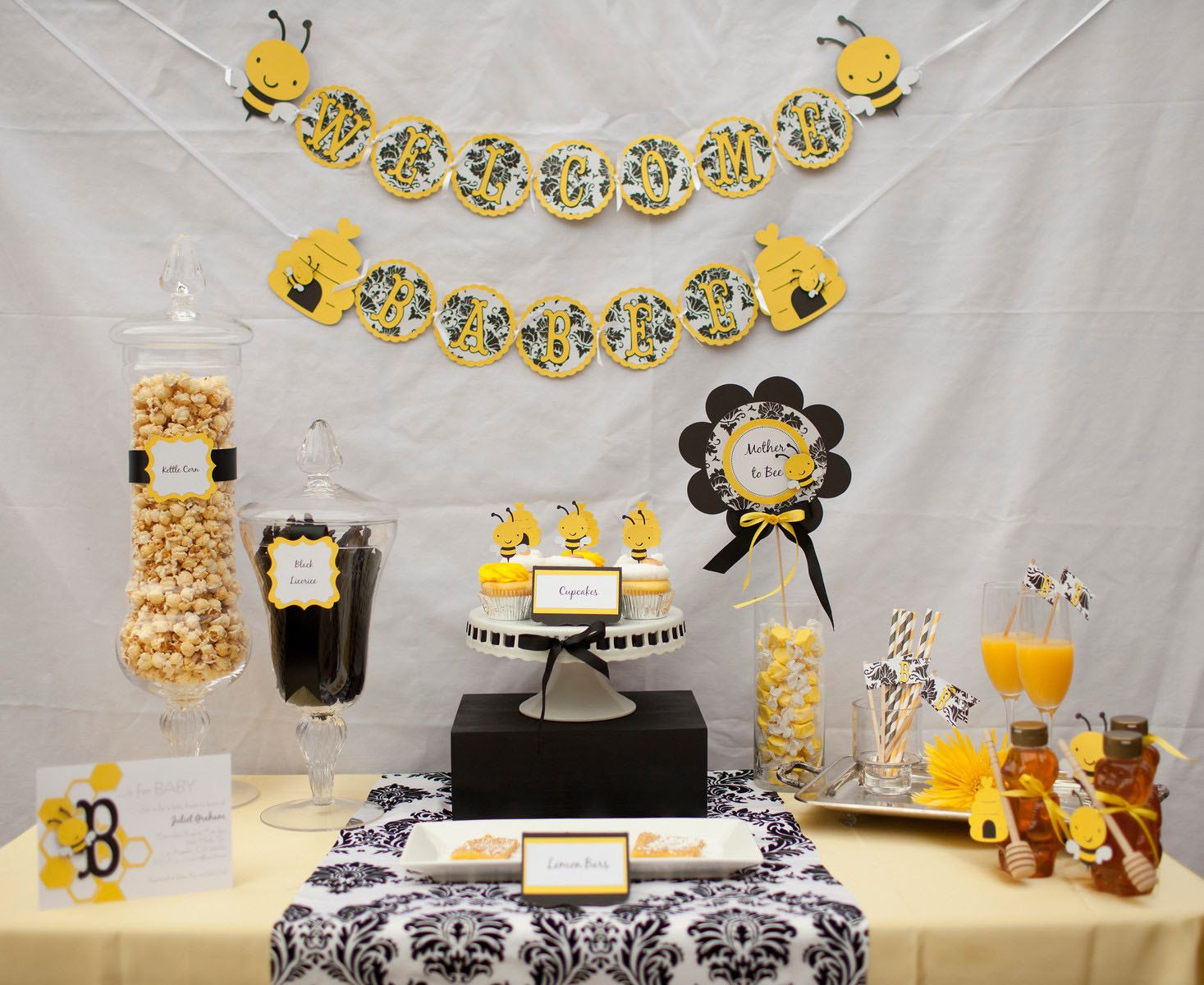 Honey Bee Theme Baby Shower Aqua