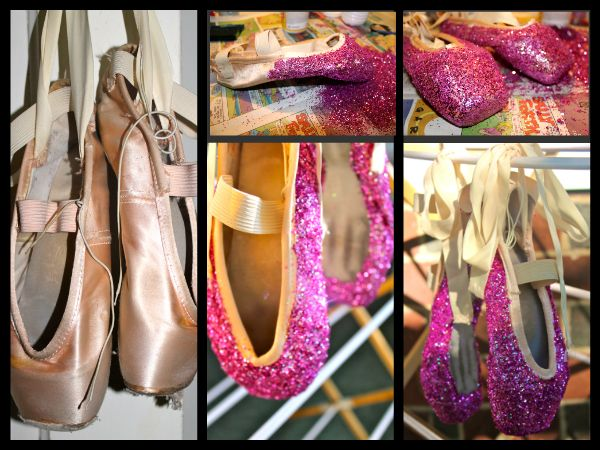 Tutorial for bedazzling old pointe shoes to use as wall decorations... Simple and so pretty upon completion. :)