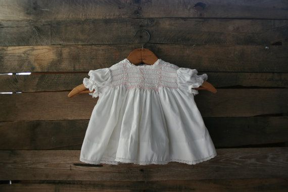 Vintage Pink & White Floral Smocked Dress by Polly by vintapod