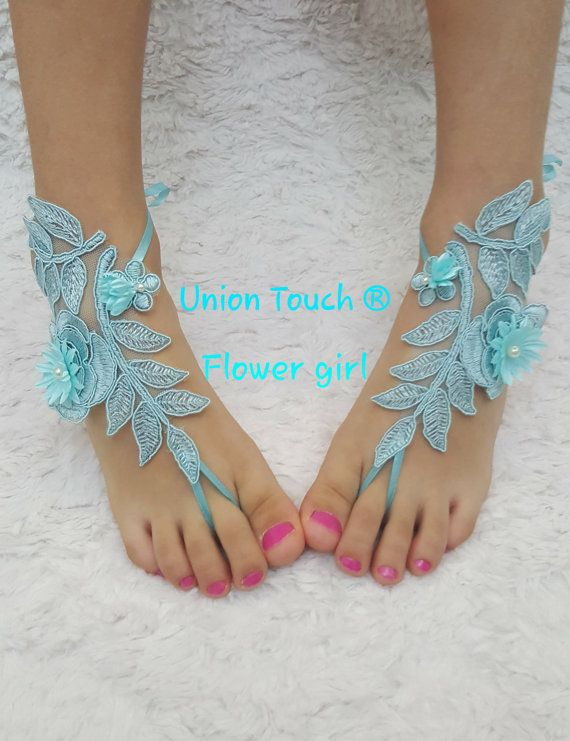 Blue Barefoot Sandal Wedding Foot Jewelry Turquoise by UnionTouch