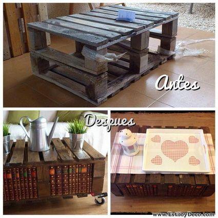 una mesa de centro hecha con palets