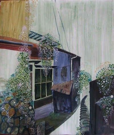 A back alley of a town by ykaihori via Etsy.