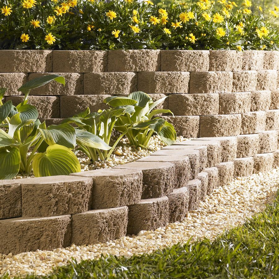 Shop sand basic concrete retaining wall block common 8 for Landscape blocks