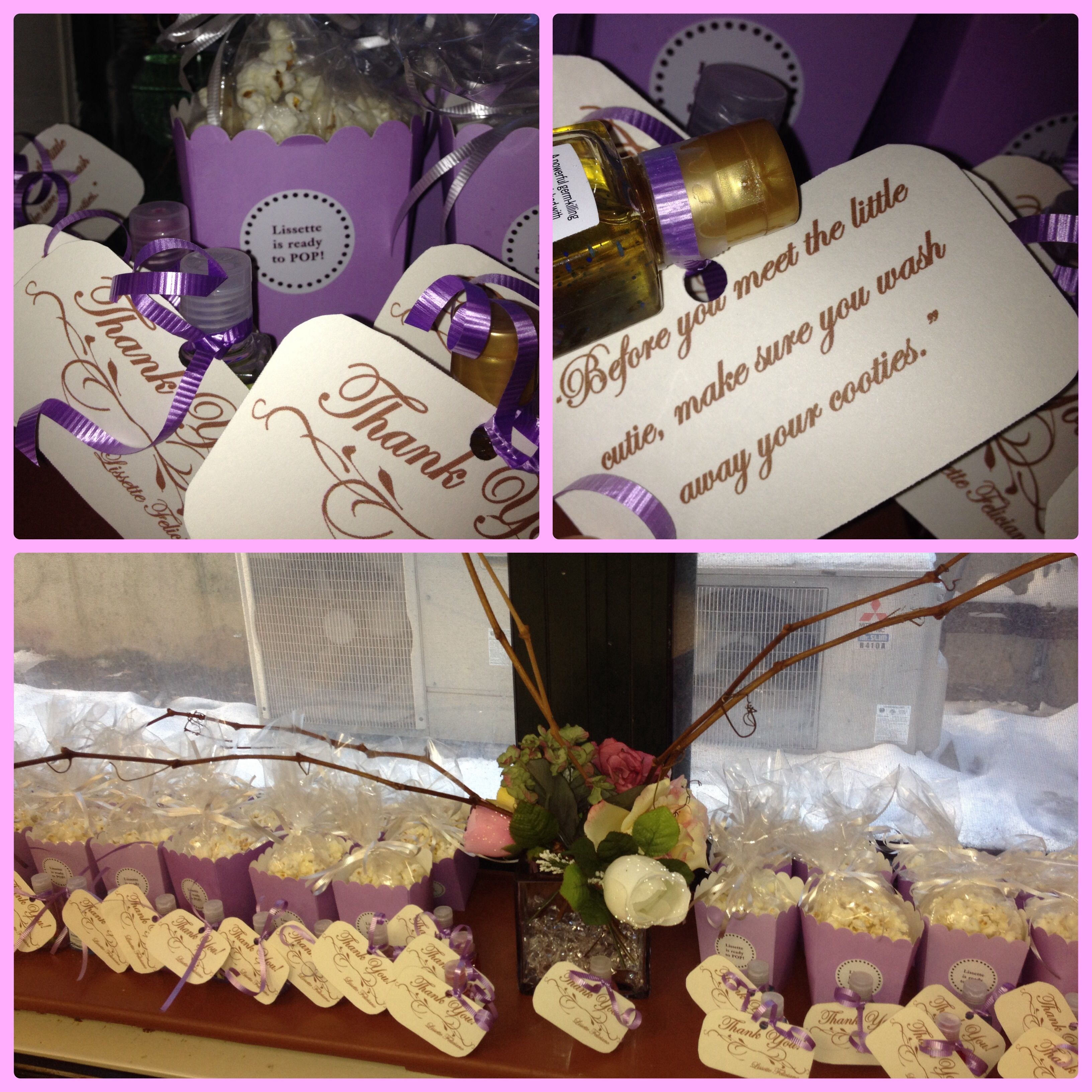 """Baby shower favors Hand sanitizer Little poem """"Before you see"""