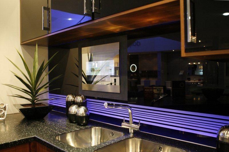TV Recessed Into Kitchen Backsplash