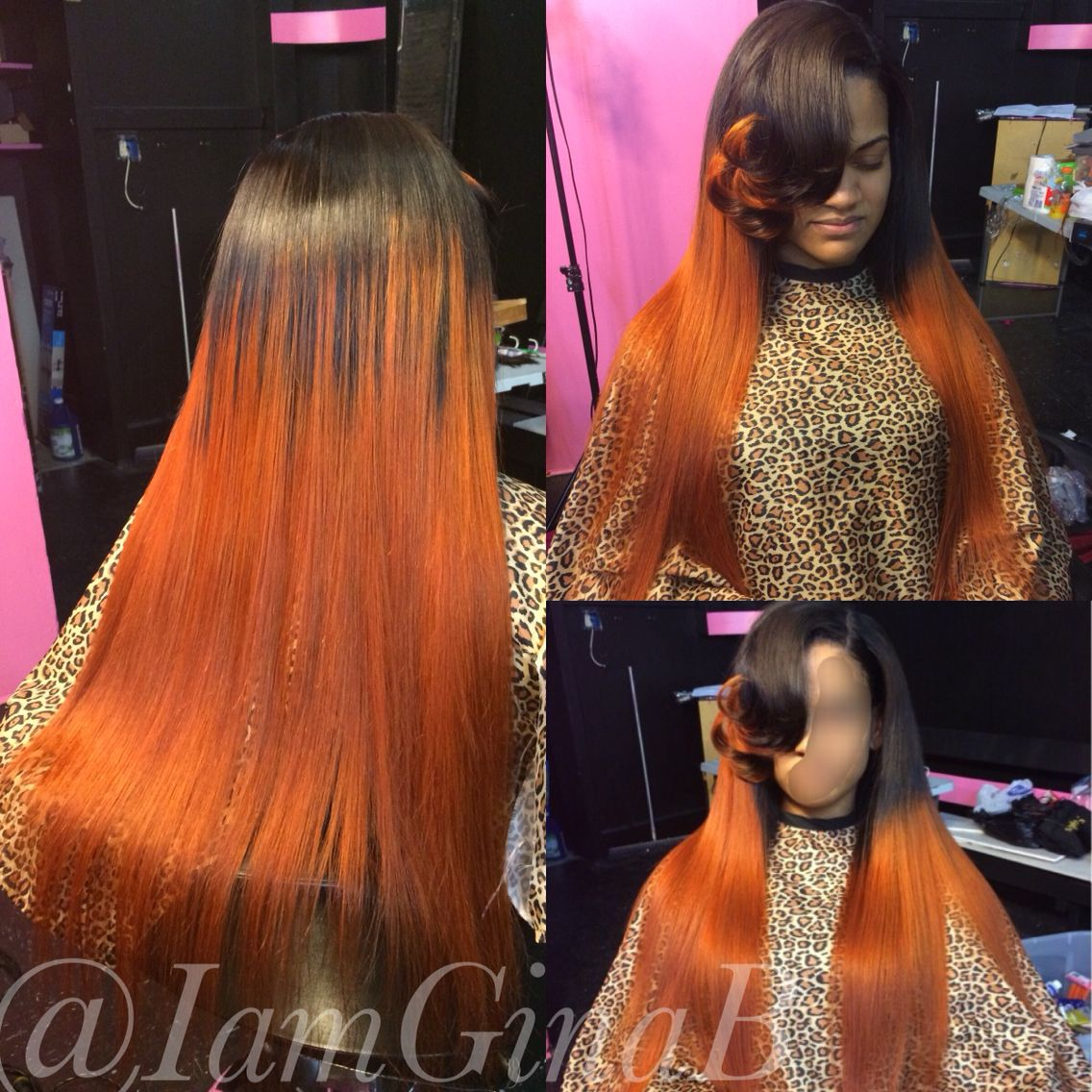 Full sew in weave colored orange. Styled by GinaB | Hair ...