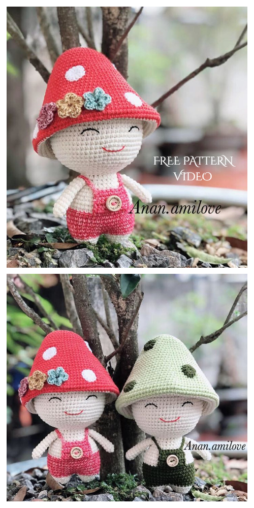 Crochet Mushroom Doll Amigurumi Free Pattern + Video - DIY Magazine