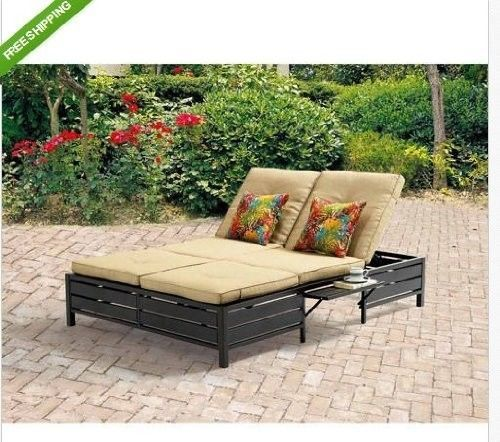 Double Chaise Lounger Lounge Chair Outdoor Patio Furniture Deck 2