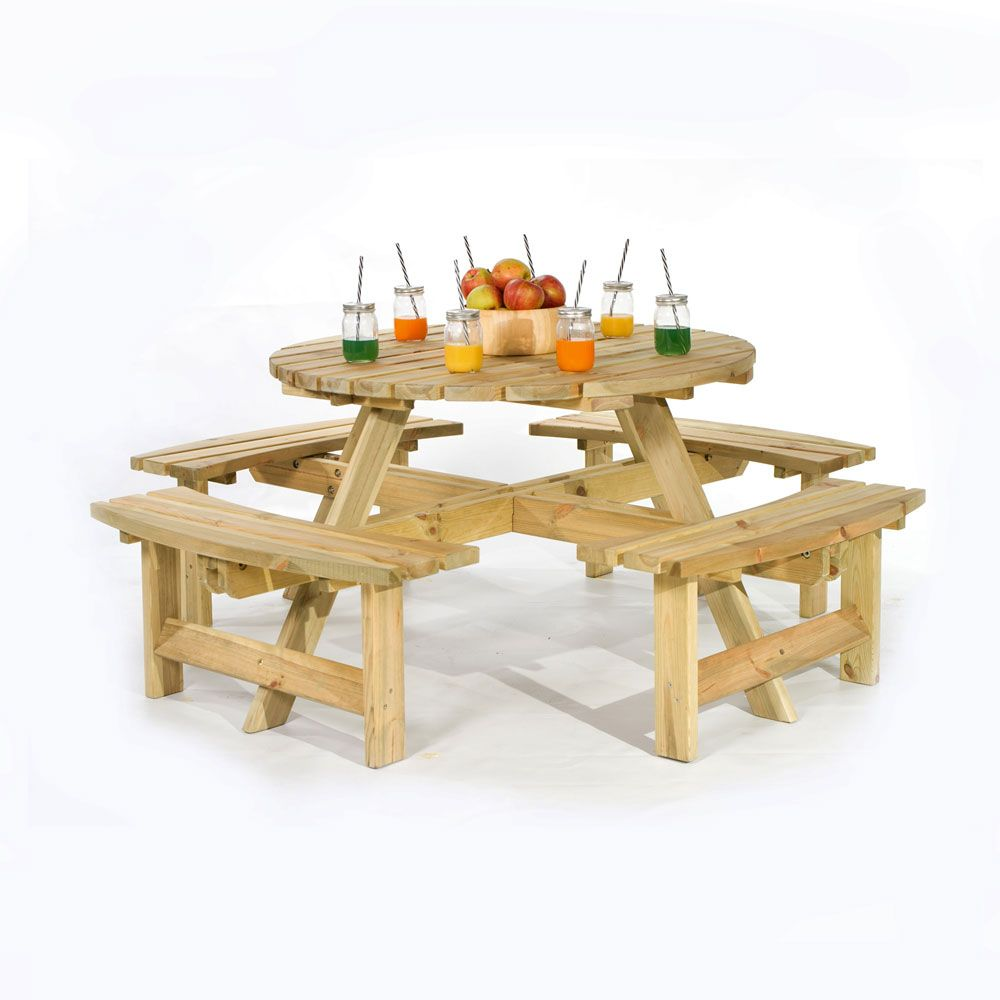 how to make a round picnic table with seats