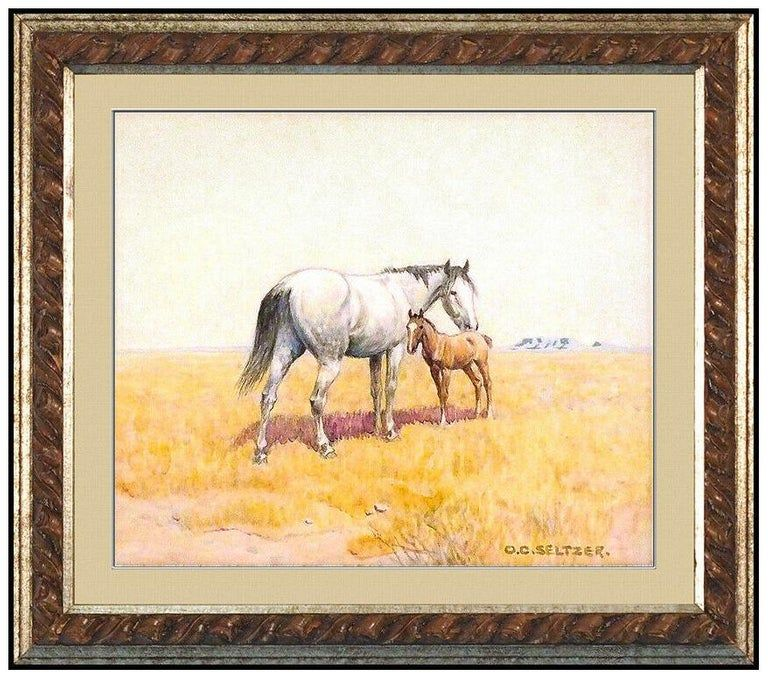 Olaf C Seltzer Original Mare And Calf Animal Paintings Tiger