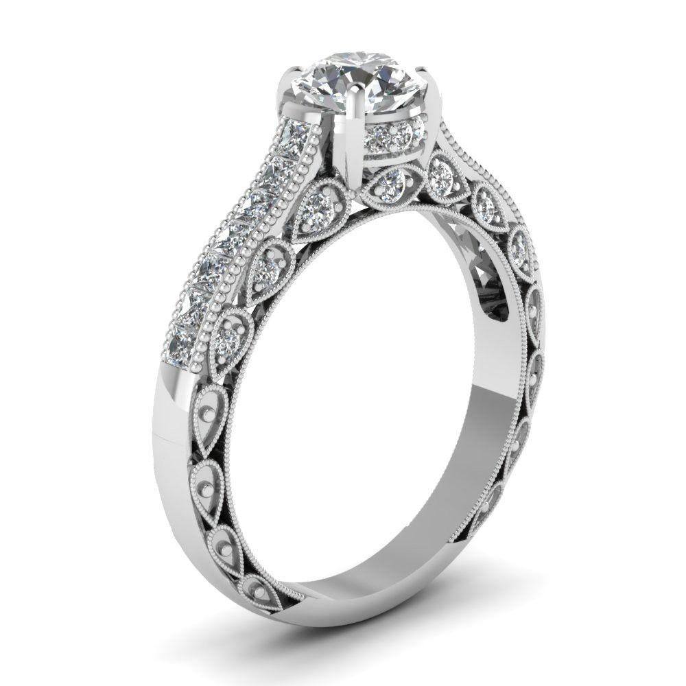 Round Cut Created White Sapphire Rhodium Plated Women's Ring
