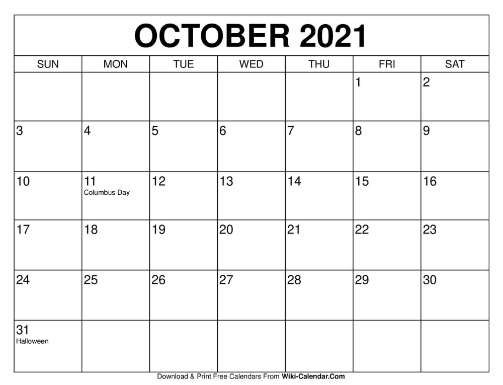 October 2021 Calendar In 2020 2020 Calendar Template August Calendar Print Calendar