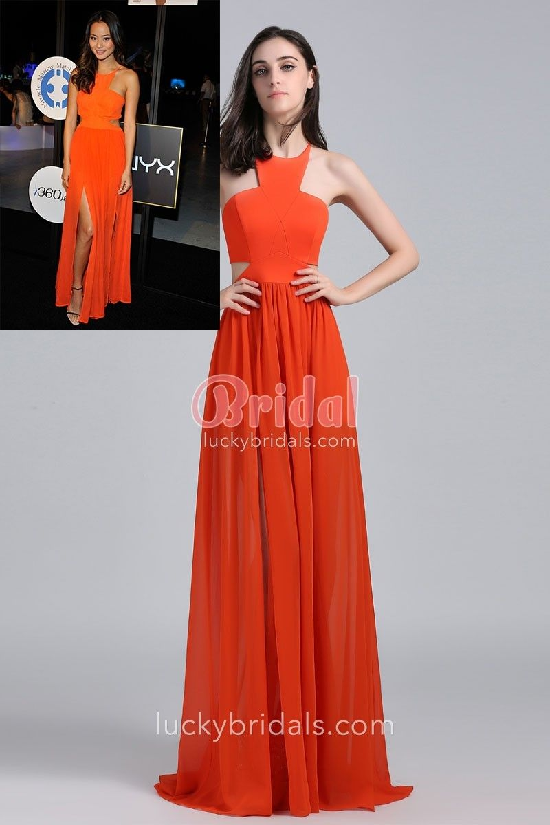 Halter neck lace up back cutout orange chiffon celebrity long prom