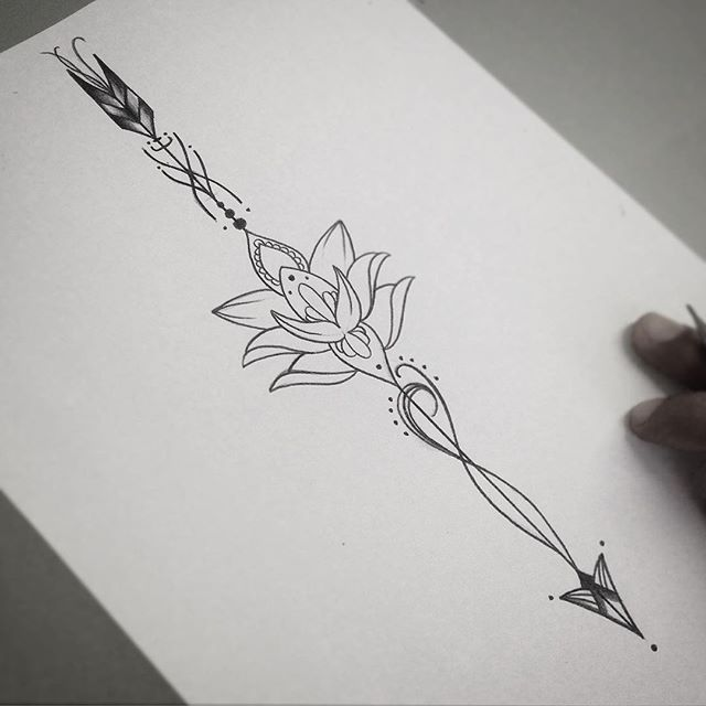 Flecha Com Flor De Lotus Tatoo Ideas Pinterest