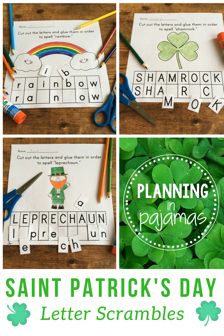 saint patricks day letter scrambles unscramble the letters to spell words