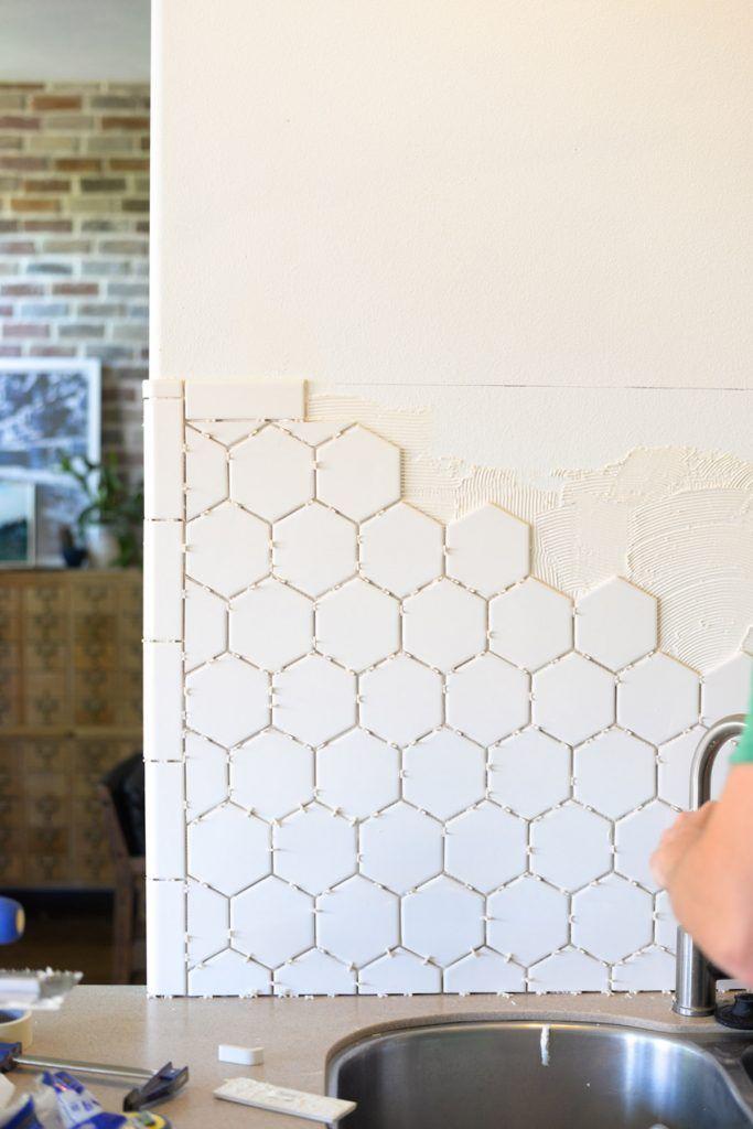 Hexagon Tile In The Kitchen Vintage Revivals How To Install Backsplash Diy Kitchen Makeover Hexagon Tile Kitchen Diy Backsplash Hexagon Tiles