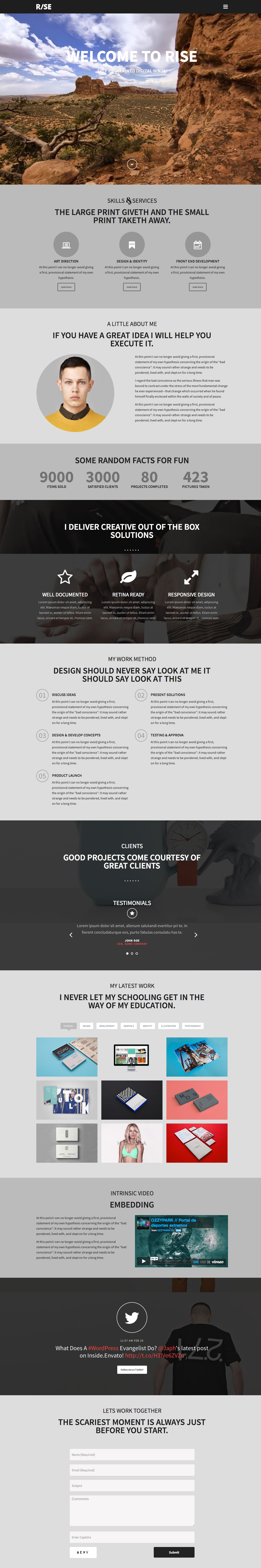Rise' is a slick responsive one page WordPress theme aimed at