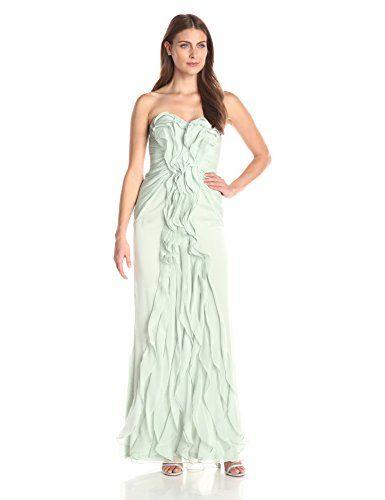 Strapless long chiffon ruffle dress