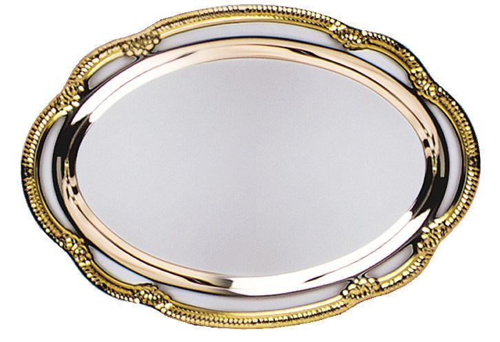 Silver Serving Tray With Gold Border \u0026 Black Plastic Plate Stand  sc 1 st  Pinterest & Silver Serving Tray With Gold Border \u0026 Black Plastic Plate Stand ...