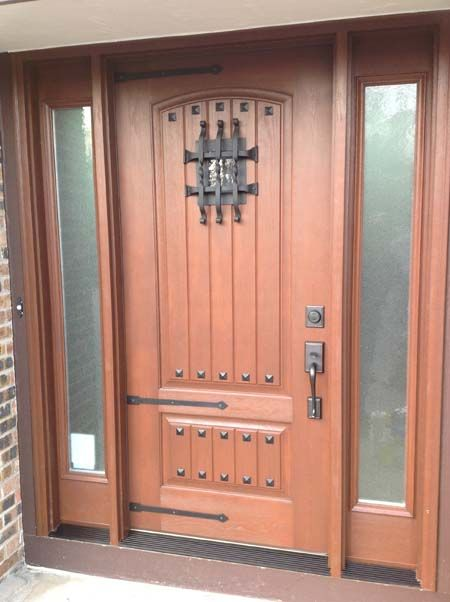 Rustic front door with windows composite carriage house for Garage door with entry door
