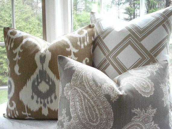 gray and tan | Tan living room, Brown living room, Designer
