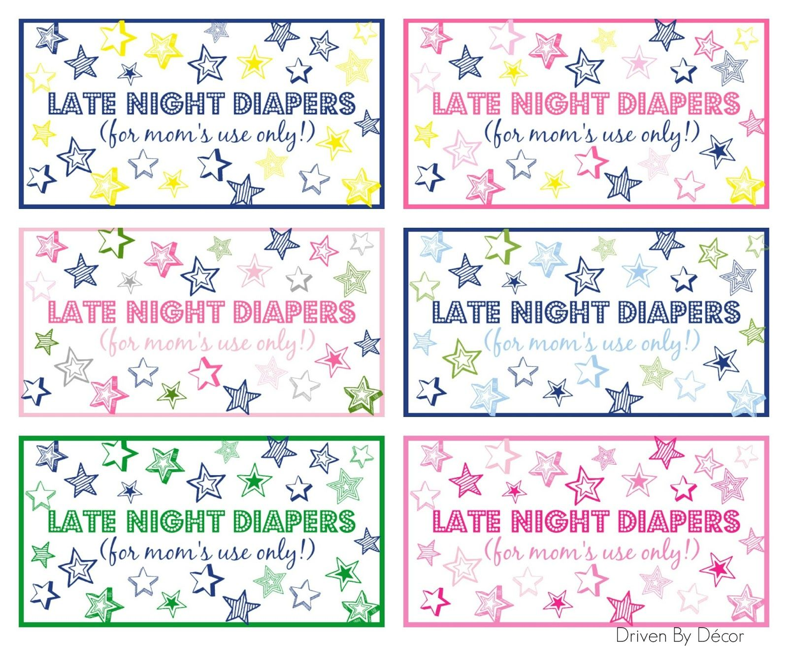 Late Night Diapers Baby Shower Sign Printable
