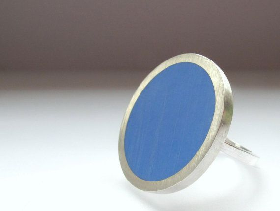 Big Round Silver Ring Round Blue Rings by QuercusSilver on Etsy