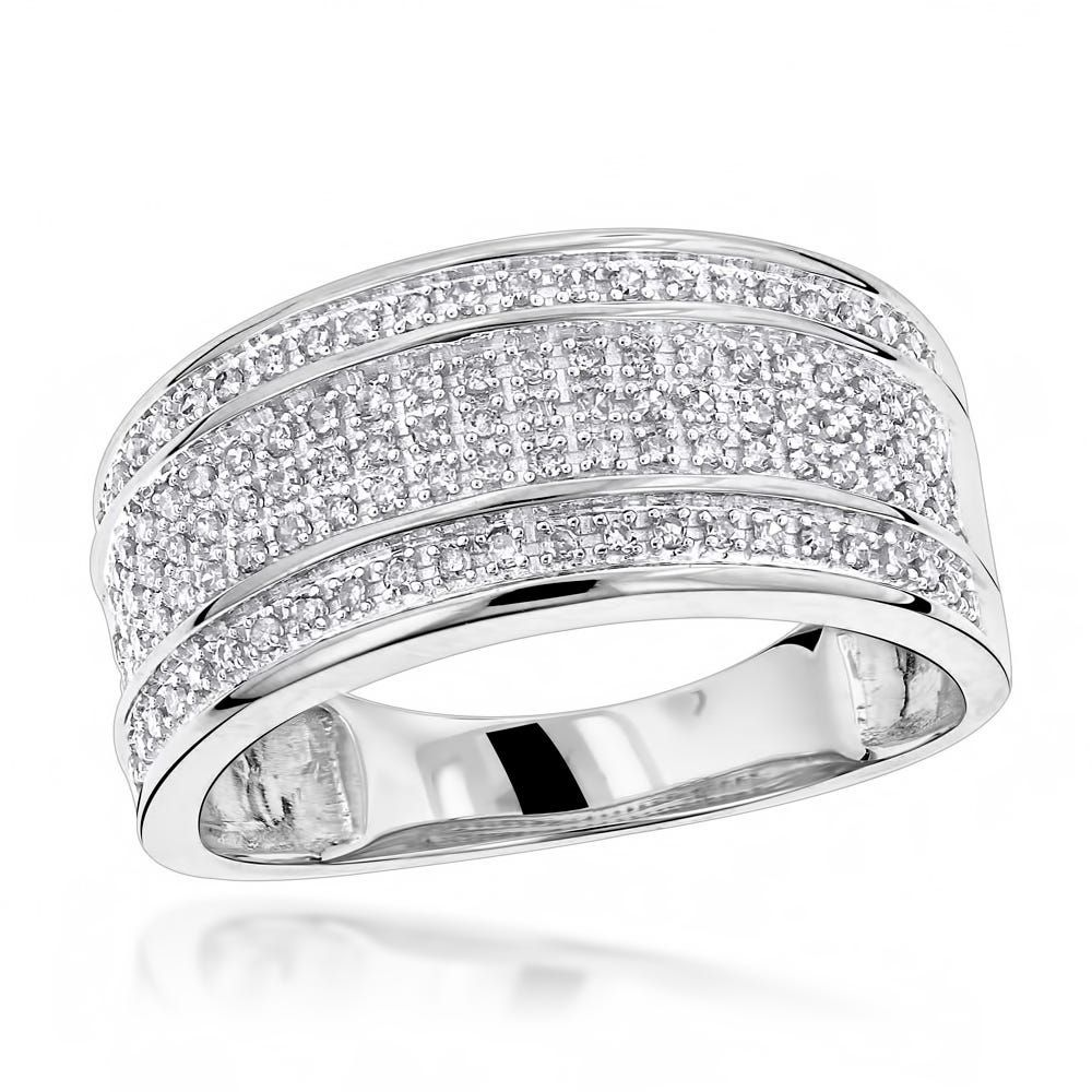 Luxurman 10k Gold Men's 2/5ct TDW 5row Diamond Ring in