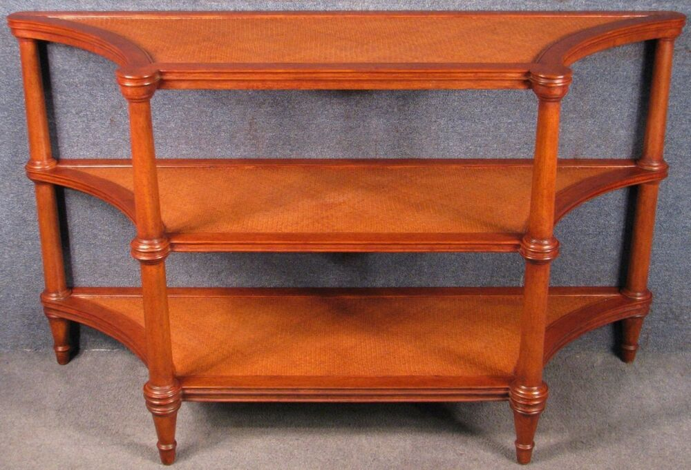 Ethan allen solid mahogany and woven cane 3 tier console