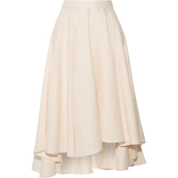 Miguelina Gale asymmetric linen midi skirt (€235) ❤ liked on Polyvore featuring skirts, faldas, bottoms, pastel pink, asymmetric midi skirt, asymmetrical skirt, miguelina, linen skirts and pink midi skirt