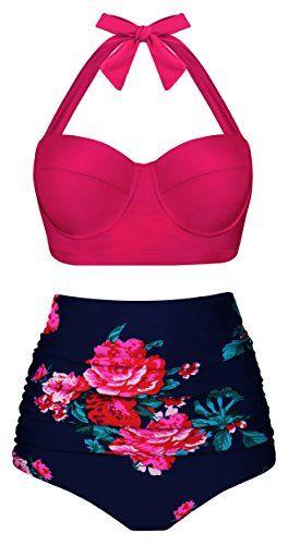 Angerella Bikini Swimsuit for Women High Waisted Bikini Retro Vintage Swimwear,Pink,M #vintageswimwear
