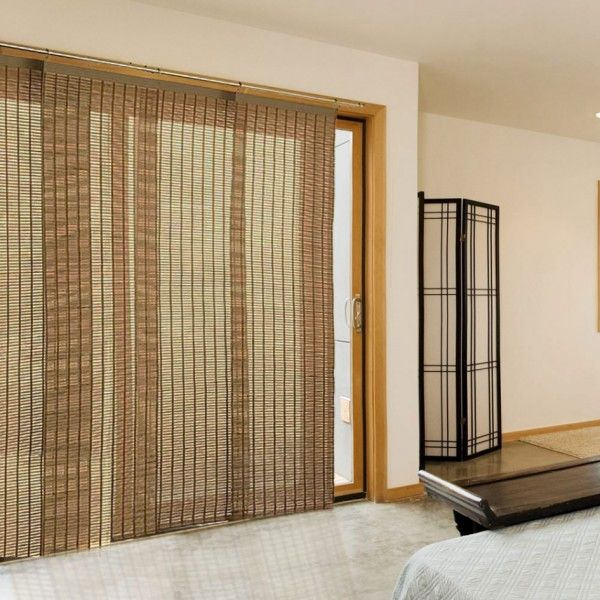 Bedroom Excellent Door Panel Curtain Rods With Roll Up Bamboo