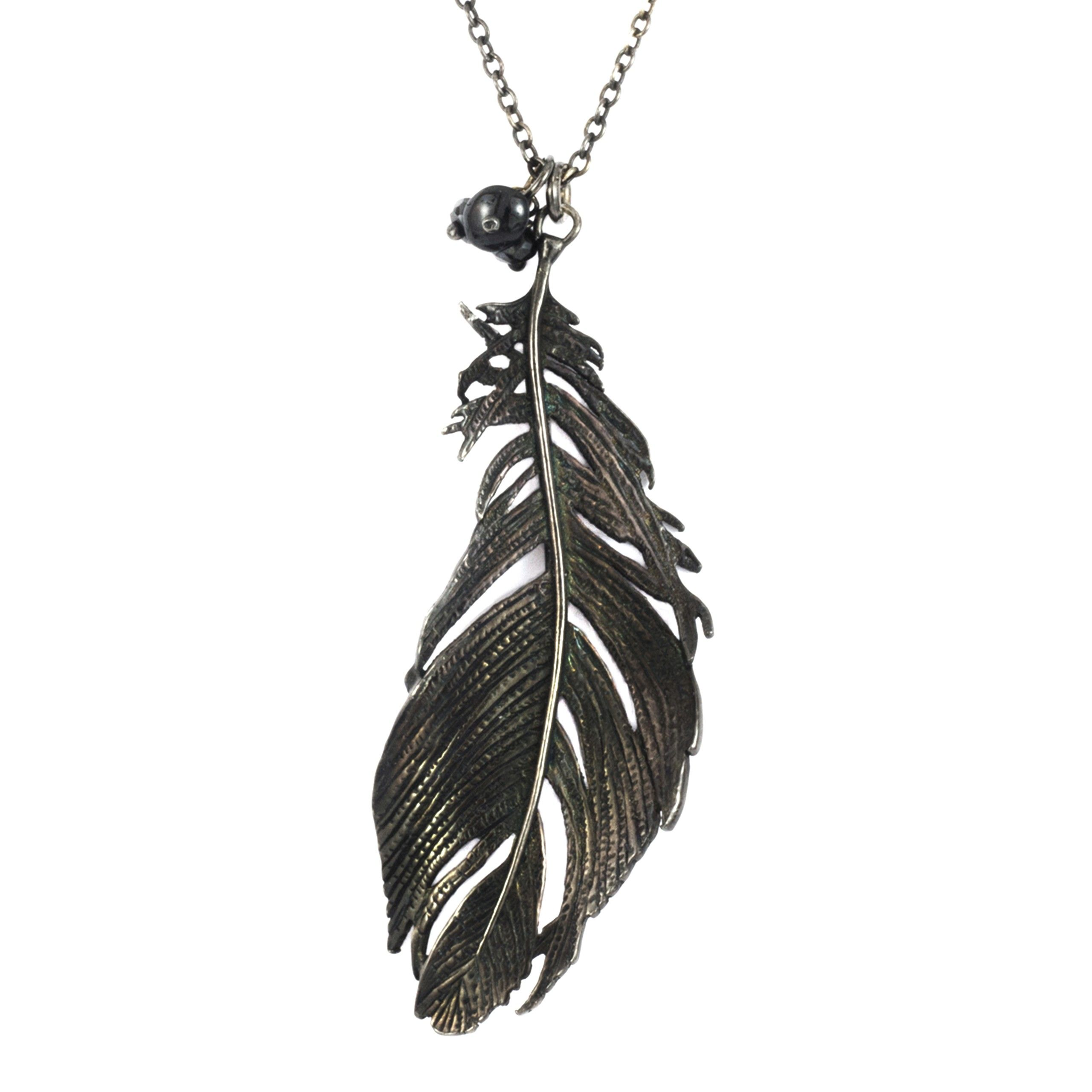 product feather strongwater in lyst peacock gallery jewelry blue jay necklace charm color no