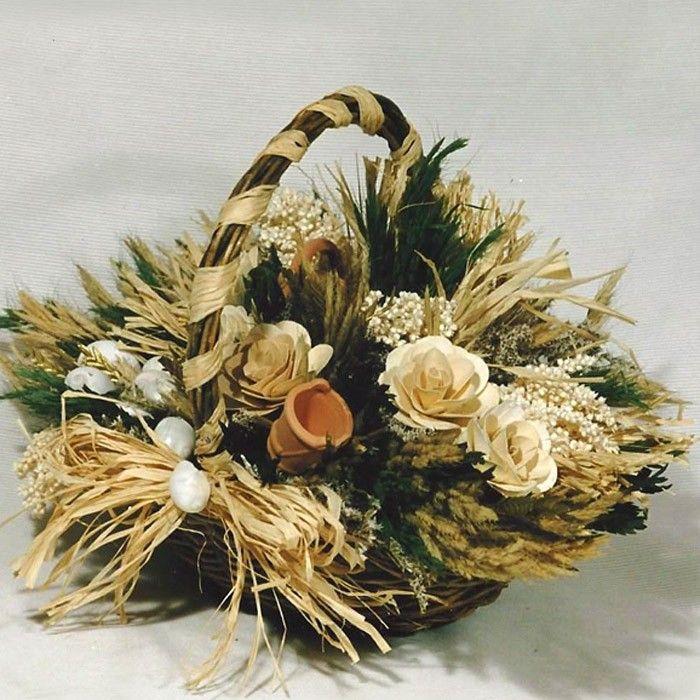 Cesta rustica con flores secas de colores neutros ideal - Plantas artificiales para decorar ...