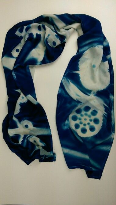 Exotic Cyanotype Printed Silk Scarves 12 X 60 White Charmeuse Also Available Crepe De Chine Chiffon 19 95 Wow Treated