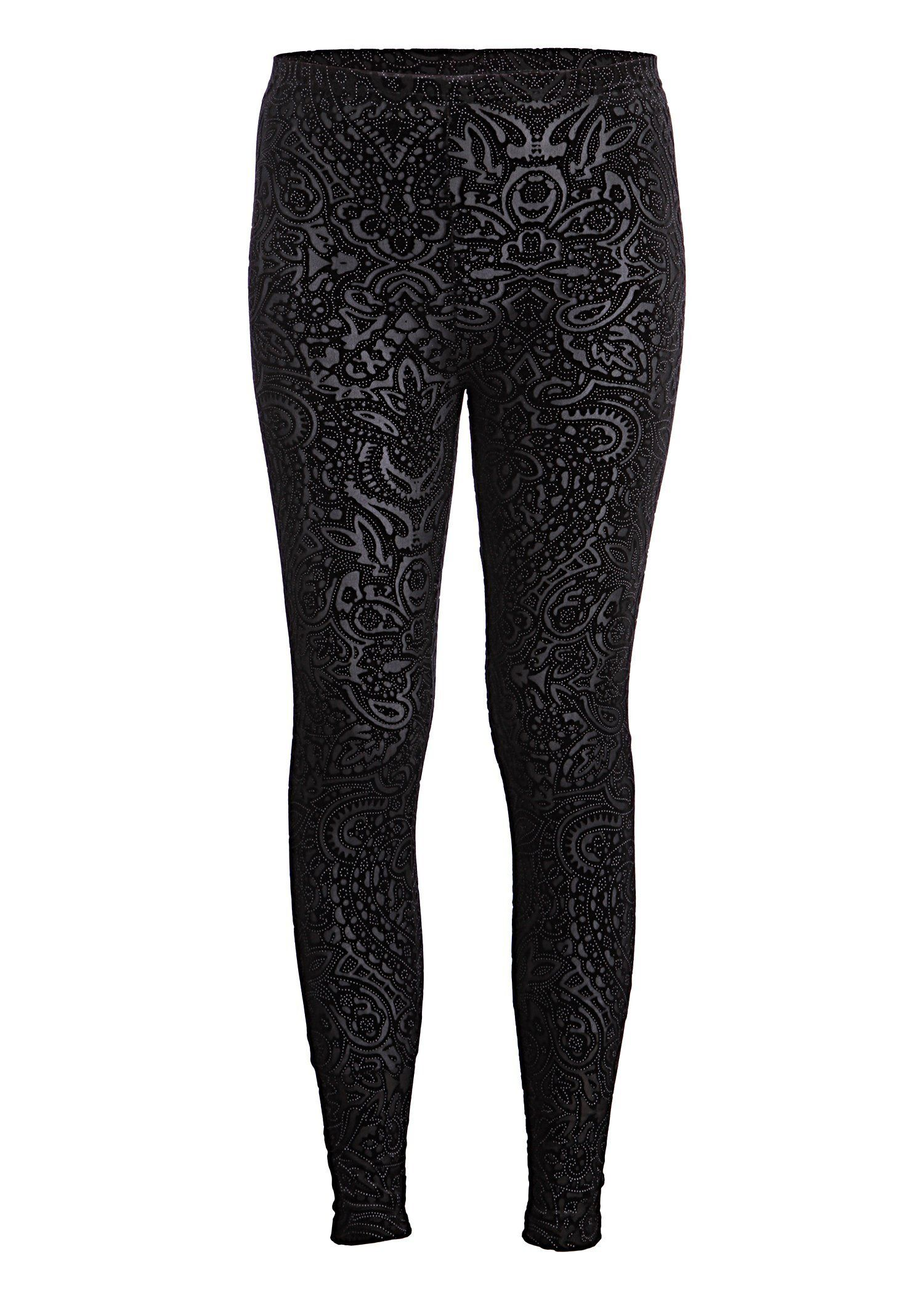 Pretty Attitude Beautiful Black Velvet Lace Look Leggings : Black Label $19.90 s