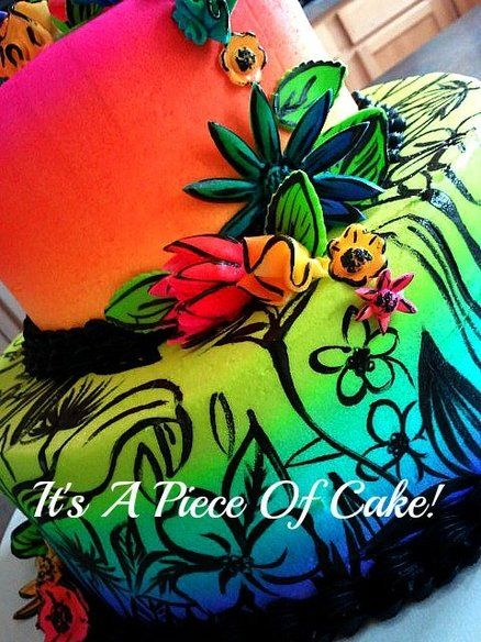 All Buttercream except flowers handpainted airbrushed neon colors
