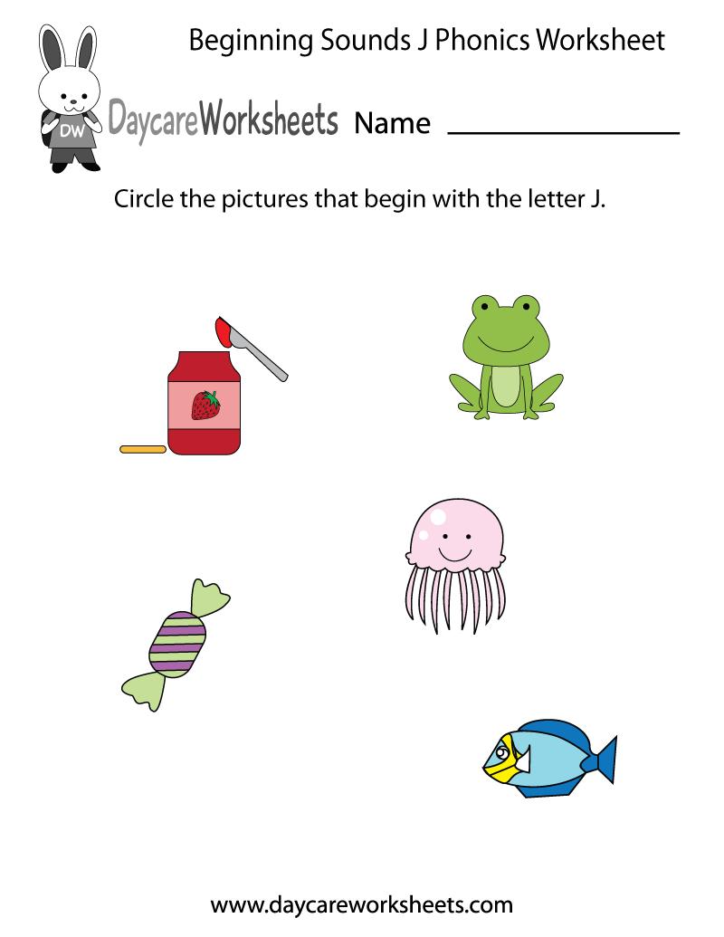 Free Beginning Sounds Letter J Phonics Worksheet For Preschool Preschool Phonics Worksheets Phonics Worksheets Preschool Phonics [ 1035 x 800 Pixel ]