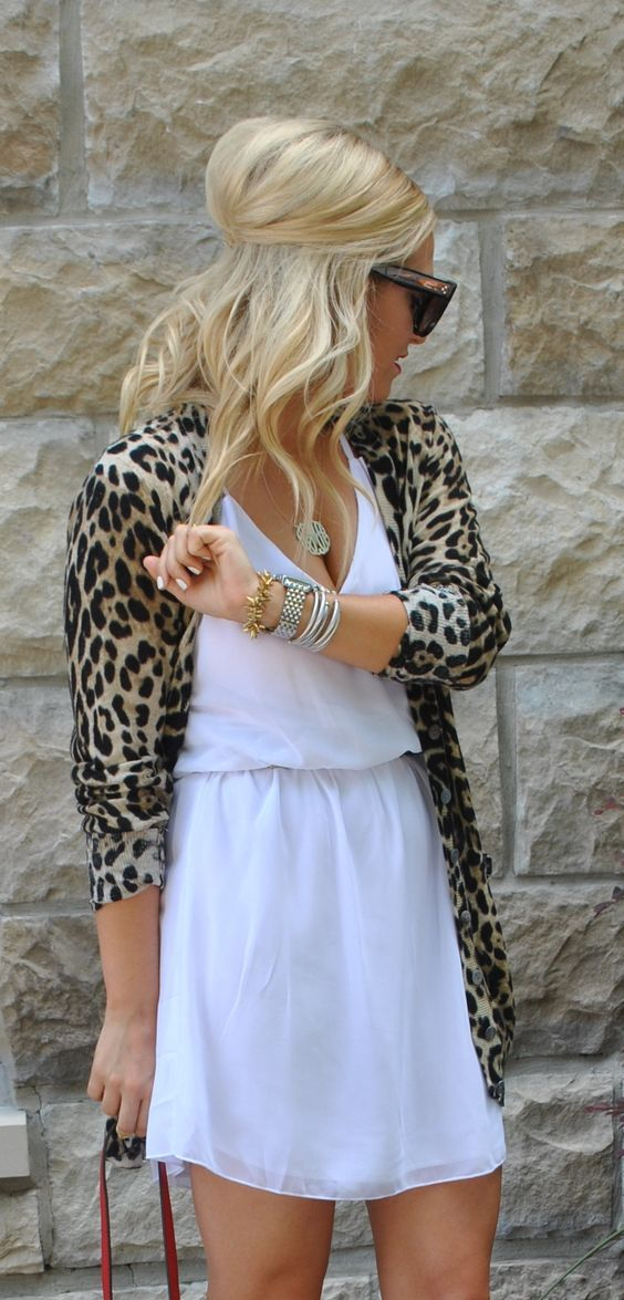 Cute for a girls night out! White dress and animal print sweater ...