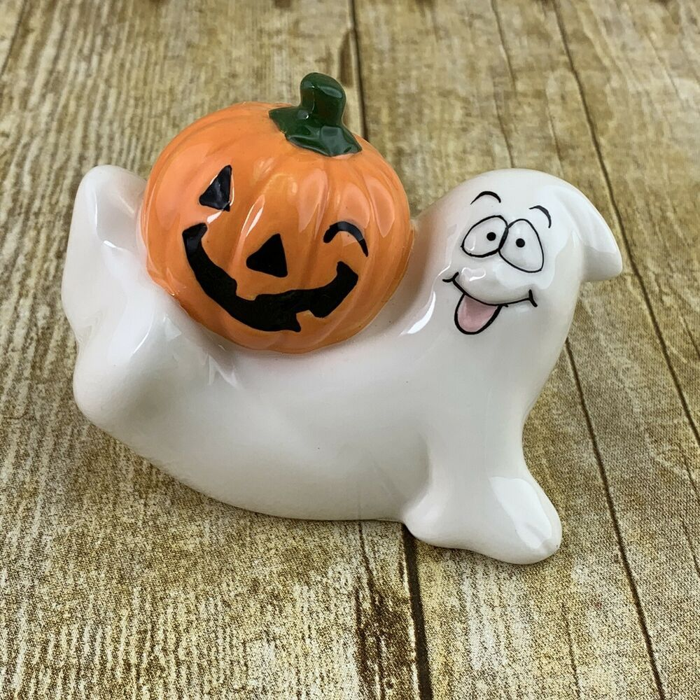 Comical Ghost With Winking Pumpkin Figurine Halloween