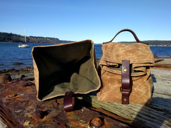 5c158ca58f57 Large Field Tan Waxed Canvas, Cordura, and Leather Reusable ...