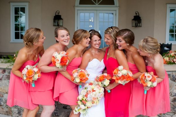 coral bridesmaids dresses bright bouquets rebekah hoyt