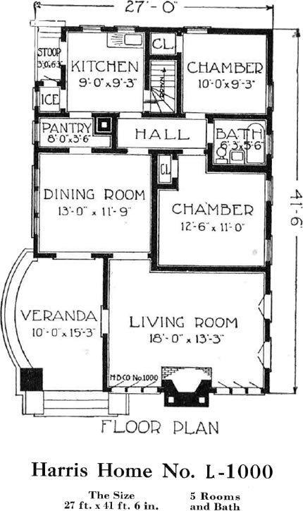 California Bungalow Harris Home No L 1000 27 X 41 Small House Plans California Bungalow How To Plan Small House Plans