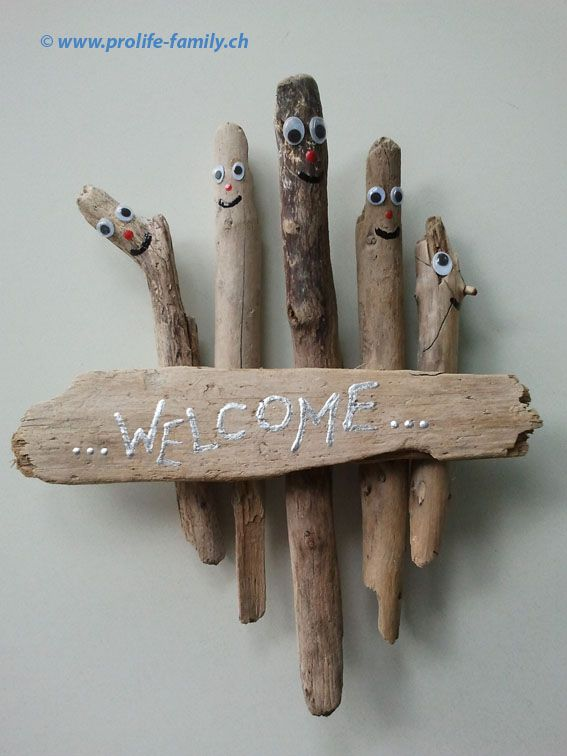 willkommens-board aus schwemmholz - zu finden auf www.prolife,