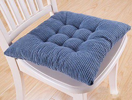 Thickened Large Dining Chair Seat Cushion Lovely Autumn Tatami Mat Solid Cushion (Denim blue)